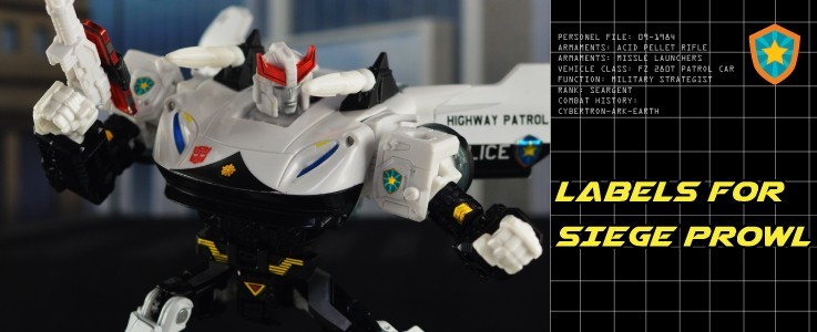 Labels and Parts for Siege Prowl