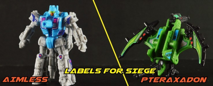 Labels for Siege Aimless and Pteraxadon
