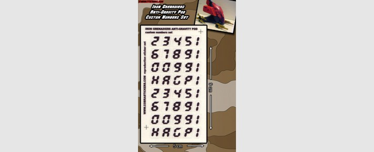 Iron Grenadiers Anti-Gravity Pod Number Sheets