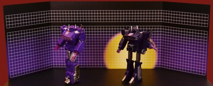 Purple G1 Box art grid and sunburst backdrop for Transformers toys