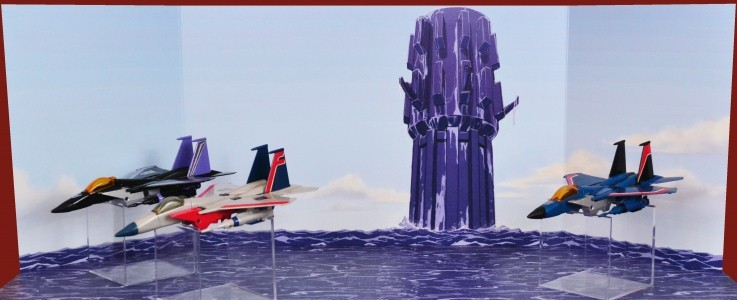 Backdrop for Decepticon seeker jets Starscream Thundercracker Skywarp Buzzsaw Laserbeak