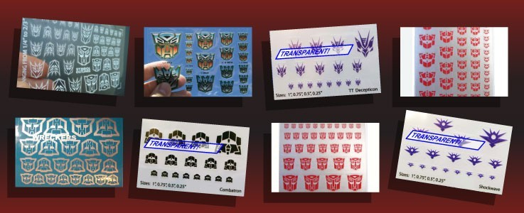 Various symbols for Transformers toys, including for Autobots, Decepticon, G2, Maximals and Predacons